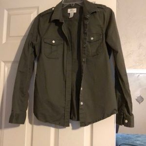 Levi army green button up light jacket